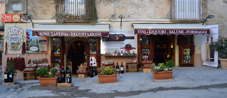 Front of wine shop in Tropea Calabria Italy. Editorial