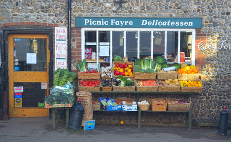 grocers: Green grocers store front Cley Norfolk England.