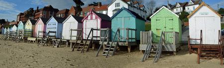 felixstowe: Beach huts panorama Felixstowe seafront Editorial
