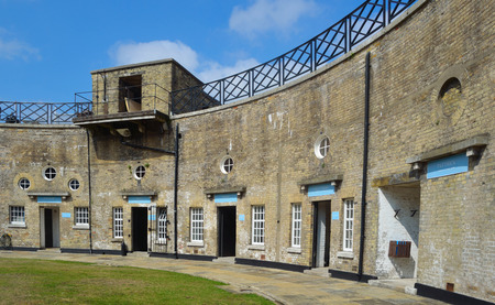defend: Harwich Redoubt, the circular fort was built in 1808 to defend the port of Harwich, Essex from Napoleonic Invasion, now open to the public. Editorial