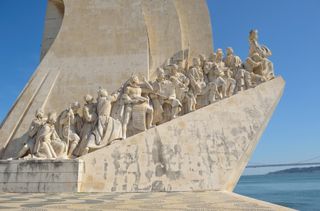 discoverer: Monument to the Discoveries  - west side Lisbon Portugal Editorial