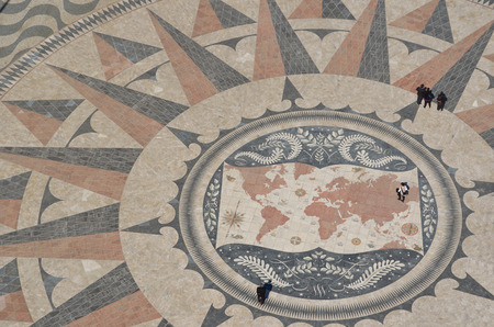 The Huge Pavement Compass in front of the Monument to the Discoveries Lisbon Portugal.