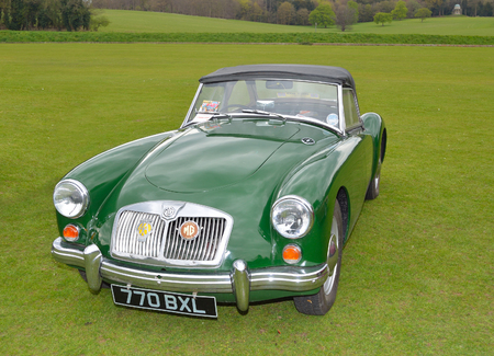 Classic green MG A Sports motor car. Editorial