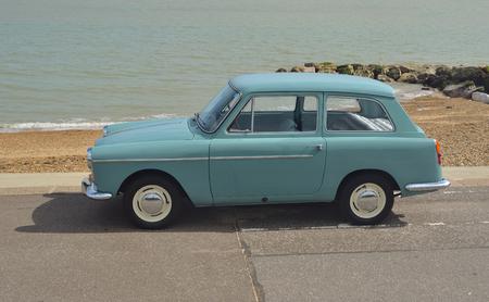 felixstowe: Classic Light Blue Austin A40 on show at Felixstowe seafront.