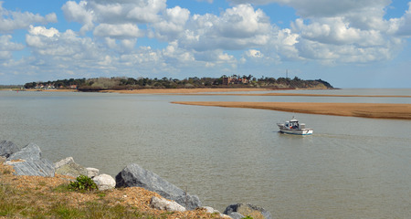 felixstowe: Estuary of the river Deben at Felixstowe Ferry with Bawdsey Manor in the background