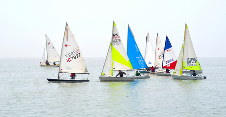 felixstowe: Colourful Sailing Dinghies together at Felixstowe Suffolk England. Editorial