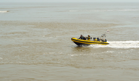 boat crew: RNLI Inshore rescue boat and crew at Felixstowe