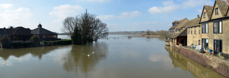 flooded: Flooded meadows at St Ives Cambridgeshire England