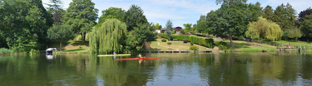 Panorama of the River Ouse at St Neots in Cambridgeshire with boats.