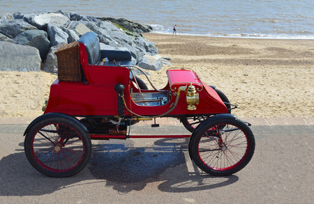 steam rally: Vintage 1902 Stanley CX Steam Car parked on seafront promenade . Editorial