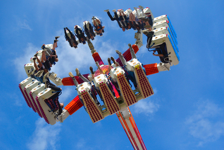 Fair Ground  ride filled  with thrill seekers