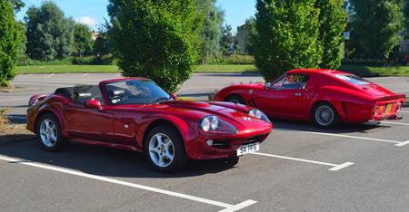 Classic Red 1999 Marcos Mantara Sports car. Editorial