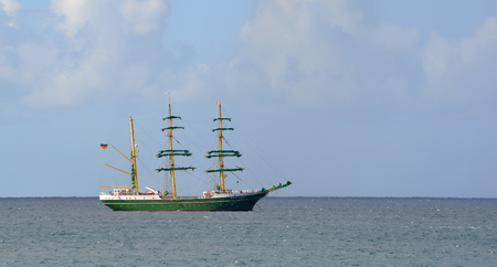 rigger: Square rigged tall ship anchored of Lanzarote. Stock Photo
