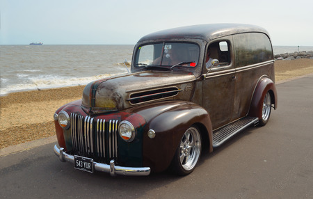 FELIXSTOWE, SUFFOLK, ENGLAND - AUGUST 27, 2016: Classic Ford Van  on seafront promenade. Editorial
