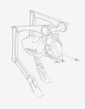 공상 과학 소설 CAD 디자인 - Walker Vehicle의 선 그리기 3D CAD로 제작 된 origInal 디자인.