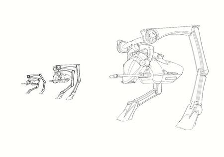 Science Fiction  CAD Design - Line Drawing of  3  Walker Vehicle  origInal design produced on 3D CAD.