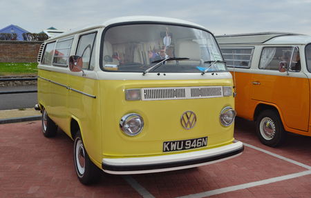 FELIXSTOWE, SUFFOLK, ENGLAND -  MAY 07, 2017: Classic Yellow and White Volkswagen Camper Van. Editorial