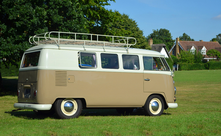 ICKWELL, BEDFORDSHIRE, ENGLAND -  JULY 02, 2017: Classic Volkswagen Camper Van parked on village green.