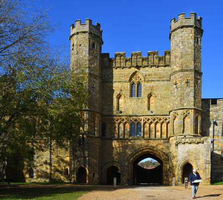 BATTLE, EAST SUSSEX, ENGLAND -  OCTOBER 20, 2017:  The Gatehouse  of  Battle Abbey East Sussex built  on the site of the Battle Hastings. Editorial
