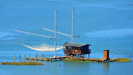 A Bilancia a traditional fishing structure used in the Venetian Lagoon for centuries. Stock Photo