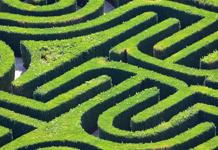 VENICE, ITALY - SEPTEMBER 22, 2017: Hedge Maze from above.