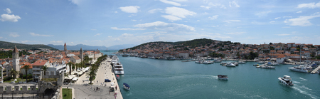 Panorama of Trogir with waterway and bridge to the island of ÄŒiovo  Croatia.