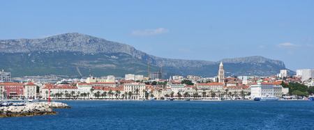 View of Split Seafront  with mountains in background. Croatia.