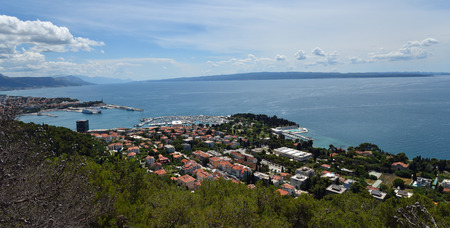 Panoramic view  of Split Seafront with the Island of Brac in view