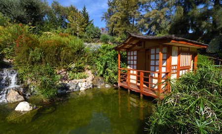 Japanese Garden with Pagoda and Pond