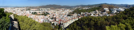 Panorama of the town  Malaga in Andalucia Spain. Banco de Imagens