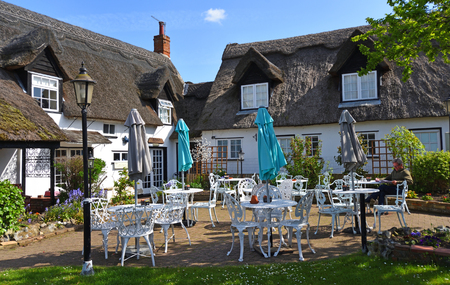 HORNING, NORFOLK, ENGLAND - Riverside thatched Cafe at Horning in Norfolk. Editorial