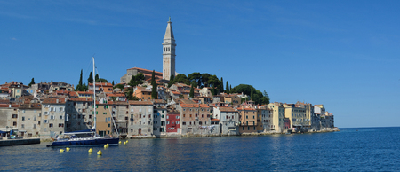 Rovinj old town  peninsular  with the Church of St. Euphemia  on the Adriatic Coast  Line Istria Croatia.