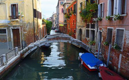 VENICE, ITALY - SEPTEMBER 26, 2017: Chiodo Bridge on the Rio Di San Felice, Cannaregio district Venice. a quiet backwater.