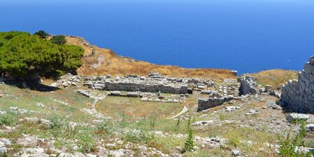 Roman amphitheatre in the Archeological Site of Ancient Thera 360 metres high on Messavouno mountain Santorini.