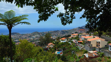 View from Monte Palace Gardens looking toward Funchal Madeira Stock Photo