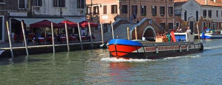 VENICE, ITALY - SETEMBER 26, 2017:   Delivery  boat on  the busy Cannaregio Canal , Venice Italy.