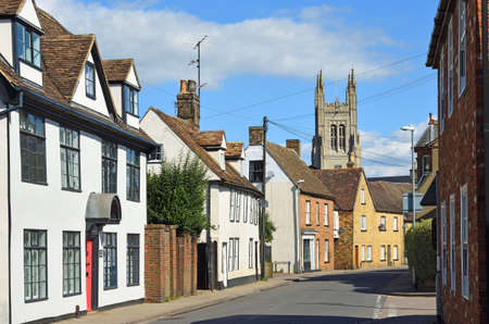 St Mary's  Street Eynesbury  with the tower of St Mary's church St Neots in background.