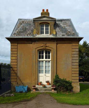 SILSOE, BEDFORDSHIRE, ENGLAND -  SEPTEMBER 04, 2020: South Lodge at Silsoe Entrance to Wrest Park built in 1826