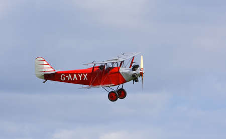 ICKWELL, BEDFORDSHIRE, ENGLAND - SEPTEMBER 06, 2020: Vintage 1929 Southern  Martlet  aircraft  in flight. Editorial