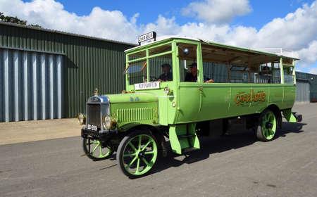 ICKWELL, BEDFORDSHIRE, ENGLAND - SEPTEMBER 06, 2020: Vintage 1921 Leyland Charabus giving rides Editorial