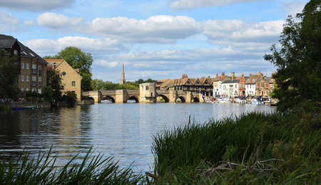 The River Ouse at St Ives  Cambridgeshire with the historic bridge and river port. Editorial