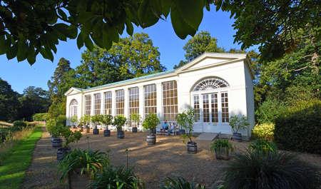 AYLSHAM, NORFOLK, ENGLAND - SEPTEMBER  21, 2020:  Historic Orangery with  rectangular central windows to allow more light to enter Editorial