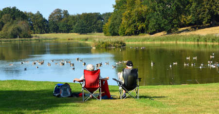 Couple sitting on chairs viewing a lake with ducks and trees