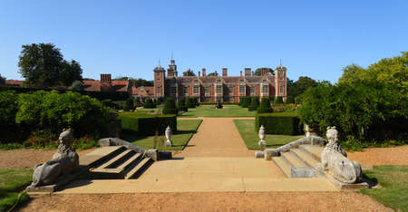 AYLSHAM, NORFOLK, ENGLAND - SEPTEMBER  21, 2020:  The Gardens of Blickling Hall Norfolk on a sunny day house and garden.