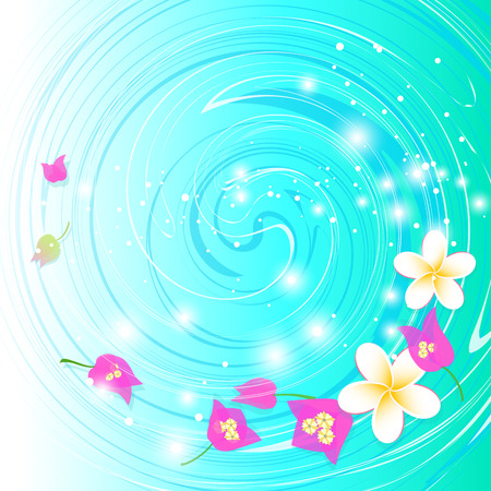 Tropical flowers floating on the water surface  Vector