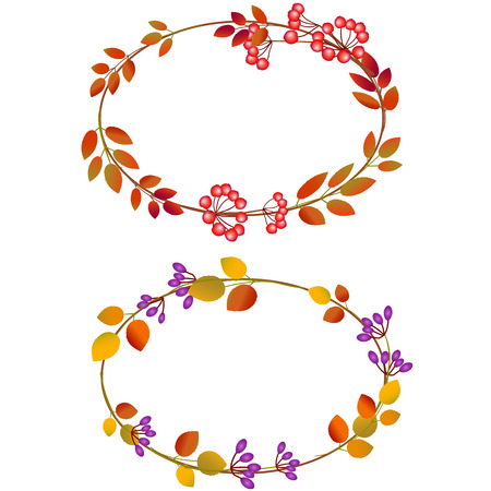 Oval frame of autumn  Vector
