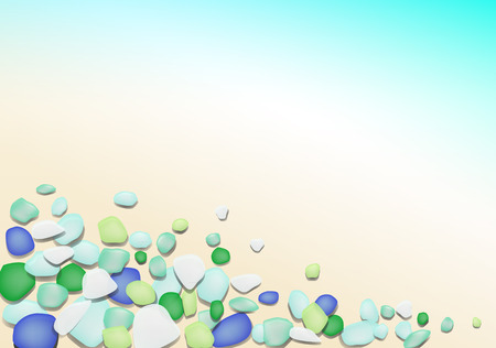 Background of beautiful beach glass of cool colors  photo