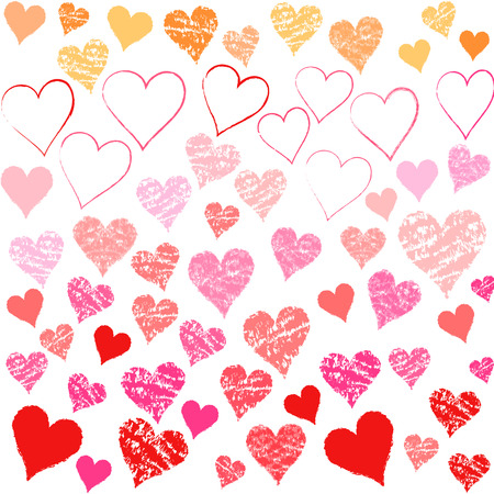 Valentine Heart pattern hand-painted style  Vector
