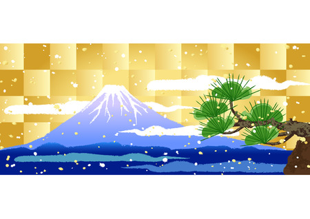 Background of Mount Fuji and pine trees  Vector