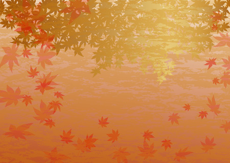 Background of a golden Japanese maple dancing in autumn wind  Vector